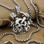 Huge Heavy 925 Sterling <b>Silver</b> Unique Skull Cross Mens Biker Pendant 9P008A(<b>Necklace</b> 24inch)