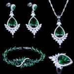 Engagement Jewelry <b>Silver</b> Color 925 Mark Jewelry Sets Women's Green Cubic Zircon Earrings/Rings/Pendant/Necklace/<b>Bracelets</b> Sets