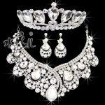 Free shipping high-end big crystal necklace earrings tiara <b>jewelry</b> sets bridal wedding <b>accessories</b>