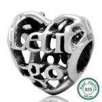 <b>Antique</b> 925 Sterling Silver Let it Go Openwork Heart Charm Bead European Style sterling silver <b>jewelry</b>