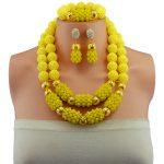 african beads <b>jewelry</b> set handmade crystal bridal nigerian wedding bead <b>necklace</b> set Opaque Yellow