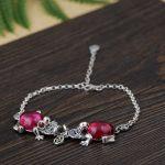 FNJ Frog Charm <b>Bracelet</b> 925 <b>Silver</b> Yellow Chalcedony Red Zircon Stone 18.5cm +4cm Link Chain S925 <b>Silver</b> <b>Bracelets</b> for Women