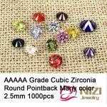 Cubic Zirconia Beads <b>Supplies</b> For <b>Jewelry</b> 2.5mm 1000pcs Brilliant Cuts Round AAAAA Grade Pointback Stones 3D Nail Art Decoration