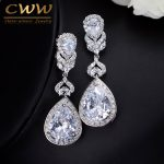 CWWZircons Elegant Water Drop Shaped Cubic Zirconia Crystal Bridal Long Earrings Luxury Wedding <b>Jewelry</b> For Brides CZ166
