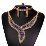 Luxury Gold Color Indian Wedding <b>jewelry</b> sets for Brides Bridesmaid Austrian Crystal Rhinestone <b>necklace</b> earrings S191