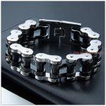 9″*22mm 156g Top Design Cool Biker Jewelry 316L Stainless Steel <b>Silver</b> Black Motorcycle Bicycle Chain Tone Men's <b>Bracelet</b> Bangle