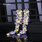 SINZRY <b>jewelry</b> Trendy round crystal dangle earrings luxury silver glass crystal <b>handmade</b> long drop earrings for brides