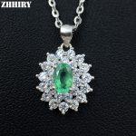 ZHHIRY Natural Emerald Necklace Genuine 925 <b>Sterling</b> <b>Silver</b> Precious Gem Natural Gemstone Pendant Fine <b>Jewelry</b> Dirthstone