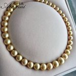 [Ainami] high-grade 10-14mm big Natural round south sea gold pearl <b>necklace</b>, SouthSea Pearl <b>necklace</b> for wife birthday gift