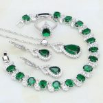 Green Birthstones White CZ 925 Silver <b>Jewelry</b> Sets For Women Party Adjustable Open Ring/Earring/Pendant/<b>Necklace</b>/Bracelet