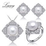 Real natural pearl jewelry sets 925 sterling <b>silver</b>,wedding jewelry sets for women,white pearl jewelry girl's birthday gift