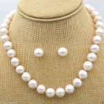 Women's Wedding Fashion <b>Jewelry</b> 10-11 mm white South Sea Pearl Necklace earring Set + Box real silver-<b>jewelry</b>