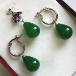 Prett Lovely Women's Wedding perfect match new <b>jewelry</b> 12*16mm green gem pendant, earring set silver-<b>jewelry</b> brinco