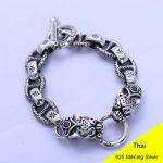 925 Sterling <b>Silver</b> Vintage Thai Wide Heavy Retro Men Double Leopard Head with Obsidian <b>Bracelets</b> Jewelry CH056592