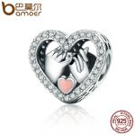 BAMOER Romantic Genuine 925 Sterling Silver Promise For Love Heart Beads fit Original Charm Bracelet DIY <b>Jewelry</b> Gift SCC167