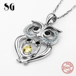 100% 925 sterling silver cute animal owl pendant chain necklace with Zirconia European diy fashion <b>jewelry</b> <b>making</b> for men gifts