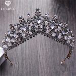 CC Tiaras And Crwons Hairbands Vintage Baroque Style Engagement <b>Wedding</b> Hair Accessories For Bridal <b>Jewelry</b> Black Crystal XY125