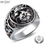 MetJakt Punk Rock <b>Jewelry</b> Domineering Lion Head Ring Solid 925 <b>Sterling</b> <b>Silver</b> Rings for Men Vintage Thai <b>Silver</b> <b>Jewelry</b>