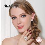 [MeiBaPJ]The European and American Classic Bowkont Set S925 Pure <b>Silver</b> AAA Zircon Earring s& Ring Set For women Fine <b>Jewelry</b>