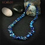 KCALOE <b>Handmade</b> Blue Semi-Precious Stones Crystal Pendant Necklace <b>Jewelry</b> Colares Vintage Charms Natural Stone Women Necklaces