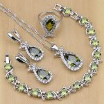 Olive Green Zircon 925 Sterling Silver <b>Jewelry</b> Sets For Women Party Earrings/Pendant/<b>Necklace</b>/Rings/Bracelet