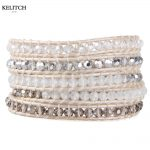 KELITCH Bright AB Crystal Mixed Beads Fashion Bracelets For Women <b>Handmade</b> <b>Jewelry</b> Customized Logo Card Design Box Drop Shipping
