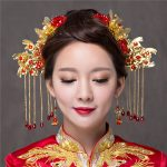 New Bridal Crown Vintage Chinese Style Hair Accessories <b>Jewelry</b> Gold Color Headdress Brides Tasseles Hair Sticks Earrings Tiaras