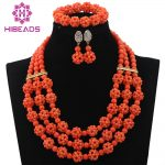 2017 Latest Peach Coral Beads African Women Jewelry Set Handmade Balls Chunky Bib Wedding Necklace Set Free Shipping CNR639