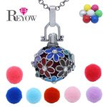 Aromatherapy <b>Jewelry</b> <b>Antique</b> Silver Daisy Flower Crystal Locket Pendant Essential Oil Diffuser Chime Ball Pregnant Baby Necklace