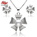 Trendy Fine Jewelry Sets for Women White Natural Freshwater Pearl Pendant Necklace And <b>Earring</b> Set 925 Sterling <b>Silver</b> Set FEIGE
