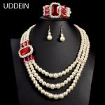 UDDEIN Nigerian Wedding Indian <b>Jewelry</b> Bracelet Necklace Earring Set Simulated Pearl statement chokers African Beads <b>Jewelry</b> Set