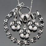 Women Black Cubic Zirconia White CZ <b>Silver</b> 925 Jewelry Sets <b>Bracelets</b>/Earrings/Pendant/Necklace/Rings Free Jewelry Box