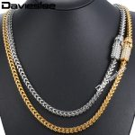 Davieslee Mens <b>Necklace</b> Chain Miami Franco 316L Stainless Steel Iced Out Cubic Zirconia CZ Gold <b>Silver</b> Color 6mm 30inch LHNM20