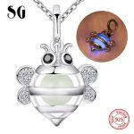 SG 925 sterling silver cute animal bee glowing charms chain necklace&pendant diy European fashion <b>jewelry</b> <b>making</b> for women gifts