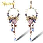 Ajojewel Luxury Bridal <b>Jewelry</b> <b>Handmade</b> Sweet Crystal Flower Chandelier Drop Earrings Long Party Earrings For Women