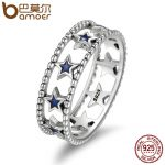 BAMOER <b>Fashion</b> 100% 925 Sterling Silver Stackable Ring Sparking Star Finger Rings for Women Authentic Silver <b>Jewelry</b> SCR153
