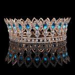 Baroque Blue Crystal Crowns Full Round Princess Queen Gold Crown Tiara <b>Wedding</b> Hair <b>Jewelry</b> Bridal Hair Accessories Headpiece