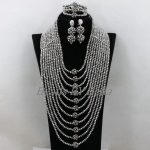Fashion <b>Silver</b> Crystal African Wedding Beads Nigerian Women Party Statement Necklace Bridal Jewelry Sets Free Shipping ABK387