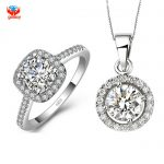 YHAMNI Real 100% 925 Sterling <b>Silver</b> Jewelry Sets With S925 Stamp 2 Carat CZ Diamant Pendant <b>Necklace</b> + Ring Set For Women YS062