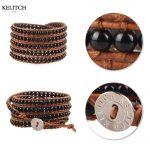 KELITCH bracelets <b>Jewelry</b> Brown Leather Chain 5 Wrap leather Stone Beaded Bracelet <b>Handmade</b> Adjustable Clasp Charm Bracelets