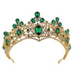 Vintage Green Big Crystal Bridal Crown Prom Head Decoration Gold Color Wedding Hair <b>Jewelry</b> Accessories tiaras and crowns HG251