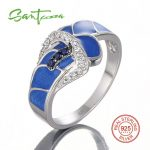 Silver Ring for Women Blue Created-Sapphires CZ Stone Blue <b>HANDMADE</b> Enamel Belt Ring Pure 925 Sterling Silver Fashion <b>Jewelry</b>