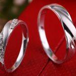 <b>Handmade</b> Diamond Couple Ring Set for Bride and Groom Wedding Band Diamond <b>Jewelry</b> 18K White Gold Engraving