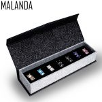 MALANDA Brand Square Zircon Piercing Earrings For Women Crystal From Swarovski Fashion Stud Earrings <b>Wedding</b> <b>Jewelry</b> 7 pairs