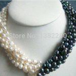 Selling <b>Jewelry</b>>>>New Arrival 5rows 7-8mm White&black Pearl Necklace Chain 18inch Women Girl Fashion <b>Jewelry</b> Design <b>Make</b>