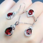 fine jewelry factory wholesale trendy red garnet natural gemstone ring <b>earring</b> pendant necklace 925 <b>silver</b> jewelry set for women