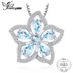 JewelryPalace Flower 1.5ct Natural Sky Blue Topaz <b>Necklaces</b> & Pendants 925 Sterling-<b>Silver</b>-Jewelry 45cm Box Chain Women Fashion