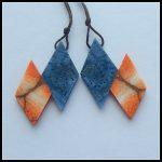 Natural Gemstone Blue Coral Foss il,Orange Foss il Intarsia <b>fashion</b> Earring Bead,semiprecious stone <b>jewelry</b>,41x32x4mm,9.1g