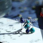 Free Shipping Lapis Lazuli, Malachite Old Silversmith Silver <b>Jewelry</b> <b>Handmade</b> Ring Ring Female Models