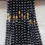 7-8mm Black freshwater pearl and chalcedony necklace 18inch 5 pcs/lot DIY women fashion <b>jewelry</b> <b>making</b> JT6790